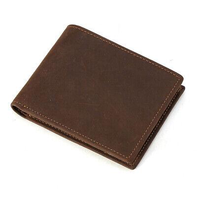 RFID Schutz Retro Herren Echtleder Schlank Brieftasche Kreditkarten Geldbörse