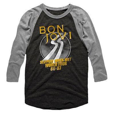 Bon Jovi Slippery When Wet World Tour 1986 Men's Raglan Shirt Rock Concert Merch (Wet Shirt)