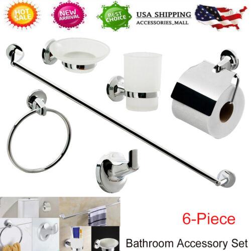 6 Piece Bath Accessory Set Chrome Bathroom Toilet Hardware T