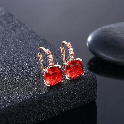 Earrings Gold Plated  Swarovski Crystal Leverback Ruby Created  Created Ruby Leverback Earrings