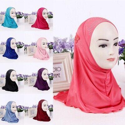 US Muslim Kids Girl Hijab Scarf Islamic Child Hot Drilling Abaya Scarf Headscarf