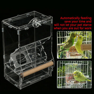 Acrylic Bird Seed Feeder No Mess Automatic Cage Parrot Food Clear Double HopperM