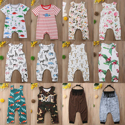 Infant Newborn Baby Boy Girl Jumpsuit Romper Bodysuit Cotton Clothes Outfit UK