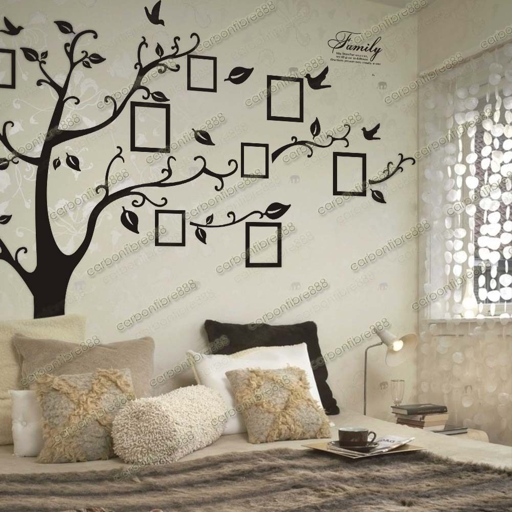 Home Decoration - Huge Family Photo Frames Tree Birds Fly Wall Stickers Home Decor Living Room