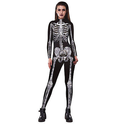 Frauen Skeleton Bone Frame Overall Bodysuit Fancy Dead Halloween Kostüm TOP