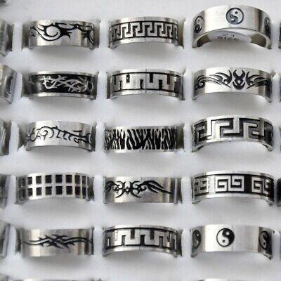 50pcs Wholesale Women Men Stainless Steel Finger Ring Punk Rings Fashion Jewelry