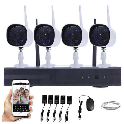 WIFI 720P Wireless 4CH NVR HD Outdoor Home Video Security IP Camera CCTV System