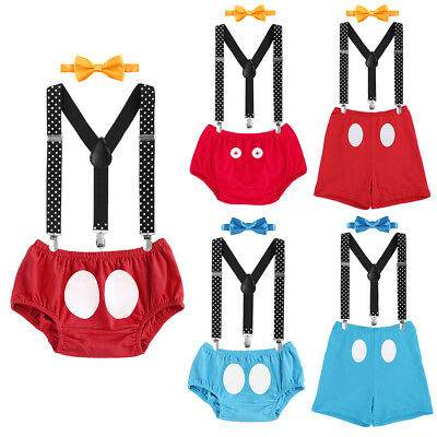Smash Cake Outfits Mickey Mouse Boys Bottom Suspender Birthday Cosplay - Mickey Mouse Smash Cake