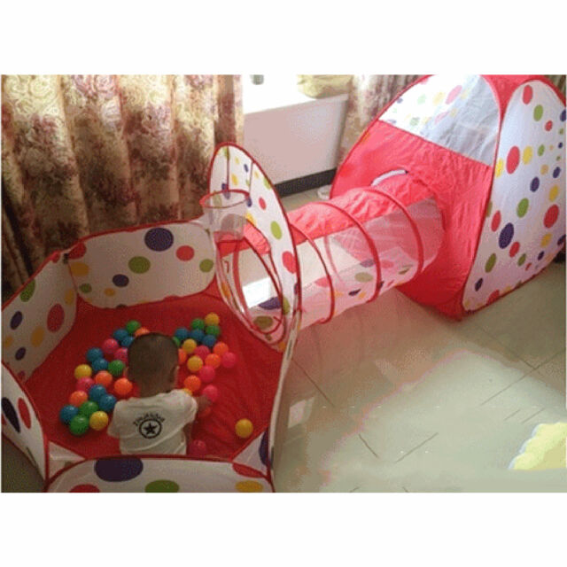 3in1 Indoor Kids Play Tent Play House Tents Tunnel Ball Pit Toy ...