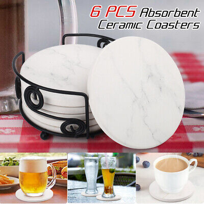 6pcs Ceramic Drink Coasters w/ Holder Absorbent Stone Coaster Marble Surface Pad Ceramic 6 Coaster