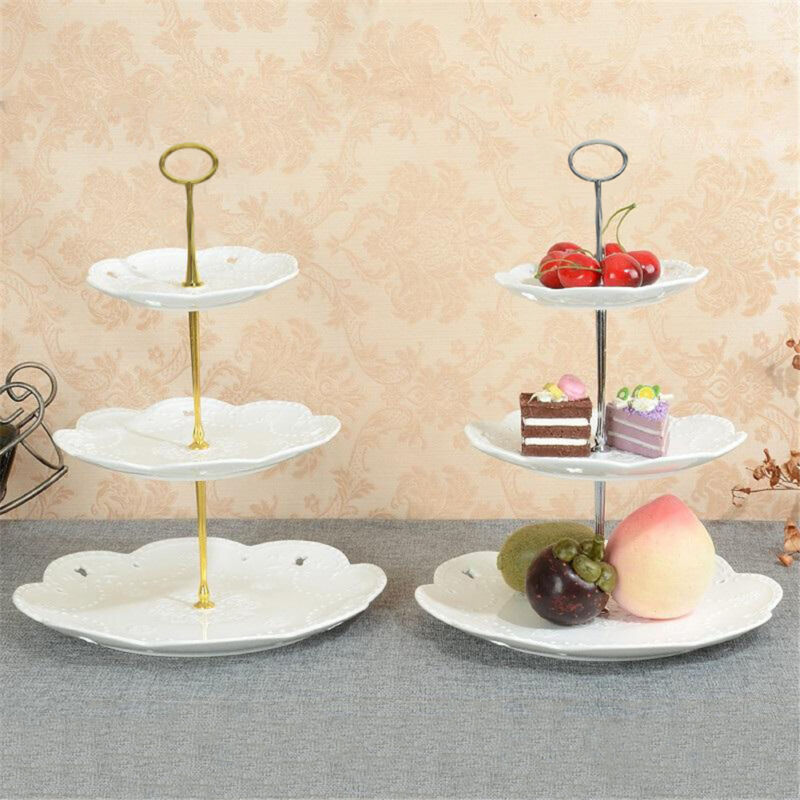 1 * cake plate stand (Plates not included) & 3 Tier Cake Cupcake Plate Stand Party Metal Handle Hardware Rod ...