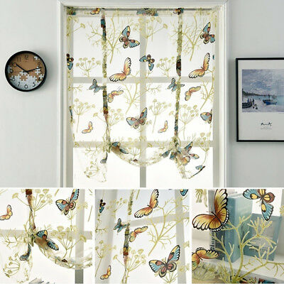 Embroidered Butterfly Flower Shade Sheer Voile Cafe Kitchen Window Room Curtain