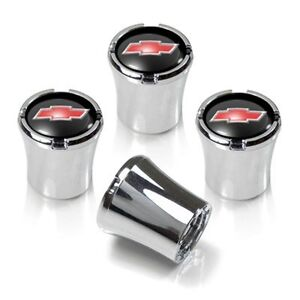 Chevy Red Bowtie Chrome Valve Stem Caps