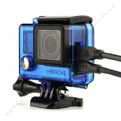 For GoPro Hero 4 3+ 3 Side Open Skeleton Housing FPV Protective Case Mount Blue