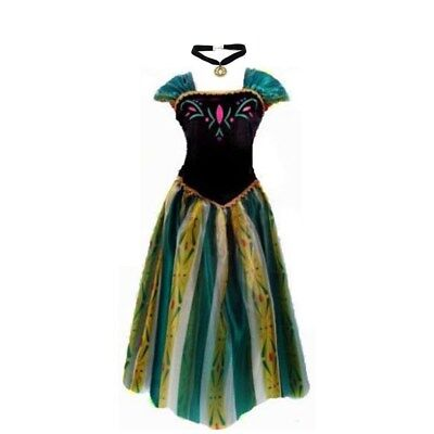 Anna Princess Dress + necklace elsa women adult costume girls costume cosplay - Elsa Costumes Adults