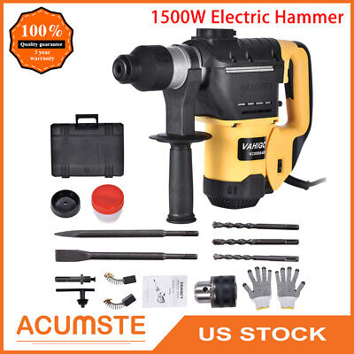 1500w 1-12 Sds Electric Rotary Hammer Drill Plus Demolition Variable Speed Bit
