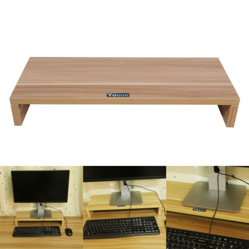 Wooden monitor stand led lcd computer monitor riser for Support tv bois