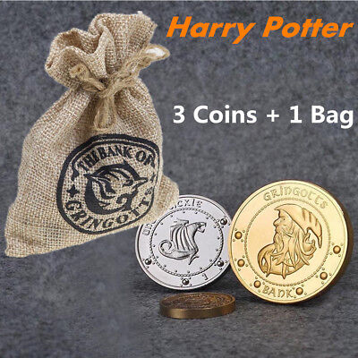 Noble Collection Harry Potter The Gringotts Bank Coin Collection 3pcs In Sack