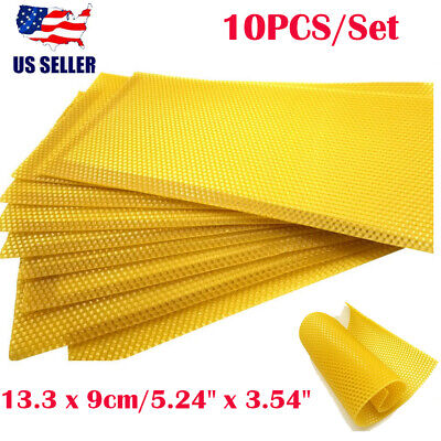 10pcs Bee Nest Beekeeping Honeycomb Foundation Bees Wax Frames Honey Hive Yellow