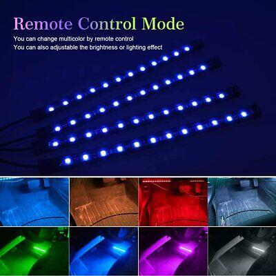 LED Strip 4 PCS DC 12V Car Interior Music Light 48 Led Lighting Kit Sound Active