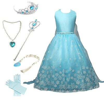 Frozen Snow Queen Elsa Princess Party Dress Costume with Accessories 2-9 Years (Queen Costume Accessories)