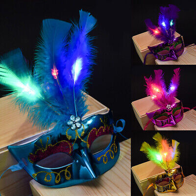 Luminous Feather Halloween Half Face Mask Masquerade Party Costume Supplies