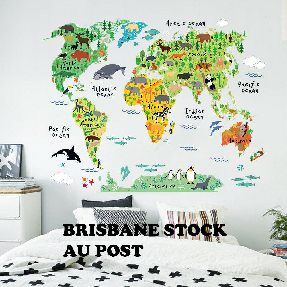 Home Decoration - Animal World Map Wall Decals Removable Sticker Home Room Decor Kids Nursery Art