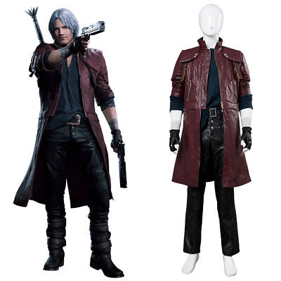 DMC5 Devil May Cry 5 Dante Aged Cosplay Costume Coat Outfit Halloween Full Set - Dante Dmc Halloween Costume