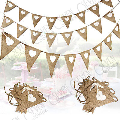 Wedding Fabric Hessian Bunting Rustic Burlap Banner Shabby Vintage Party - Fabric Bunting Banner