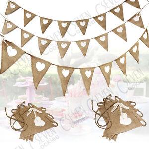 Wedding Fabric Hessian Bunting Rustic Burlap Banner Shabby Vintage Party Decor