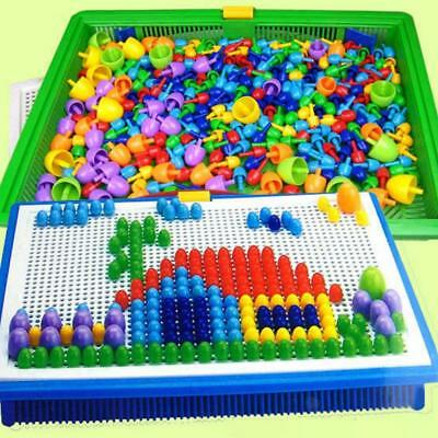 Creative Children Puzzle Peg Board With 296 Pegs Kids Educational Toys Xmas Gift