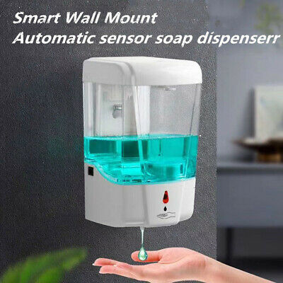 US Automatic Liquid Soap Dispenser 700ML Handfree Touchless IR Sensor Wall Mount Bath