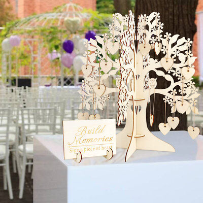 Bridal Wedding Guest Book DIY Wooden Tree &100 Hearts Visit Sign for Baby (Bridal Book)