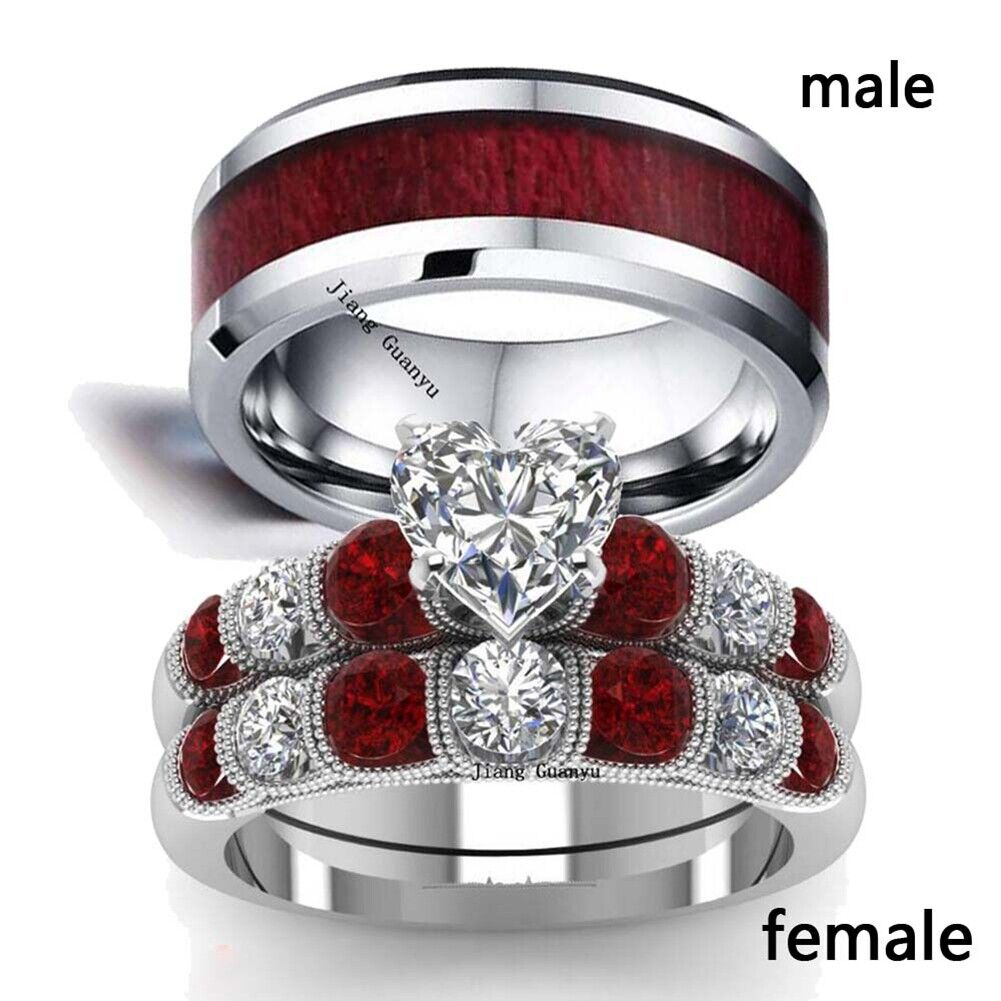 sz6-13 Couple Rings Stainless Steel Mens Ring Red CZ Women's