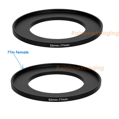 (2 Pack) 52-77mm 52mm to 77 mm Metal Step Up Lens Filter Ring Adapter US Seller