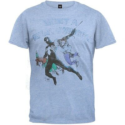 Spider-Man - Mens Real Swinger Soft T-Shirt - Light Blue