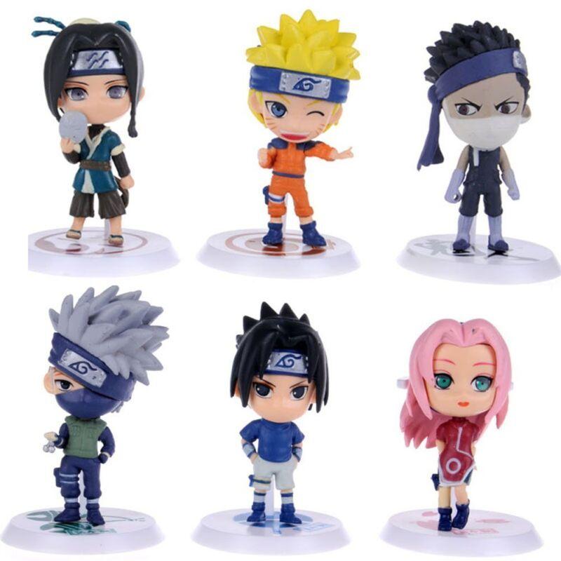 6x Naruto Cute Mini Action Figures Cake Topper Kakashi Sakura Sasuke Zabuza Haku