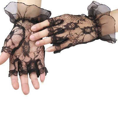 Ladies Black Lace Fingerless Gothic Halloween Fancy Dress Costume Gloves