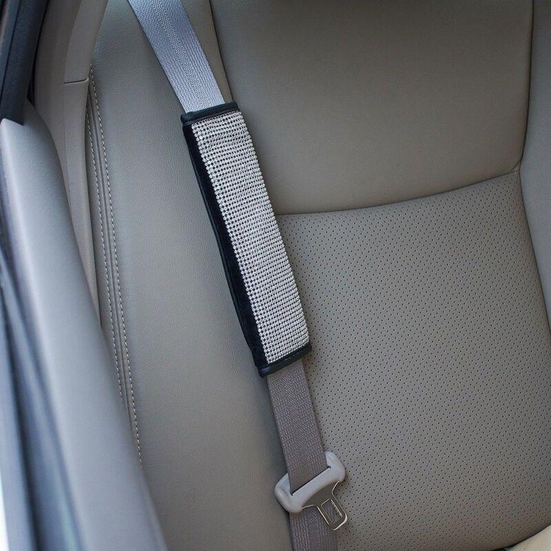 CrystalPU Leather Car Seat Belt Safety Seat Belt Shoulder Pads Strap Cover Black