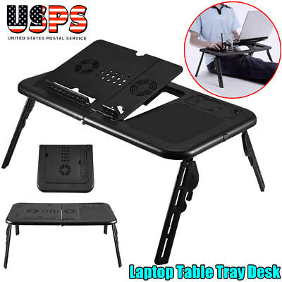 Portable Laptop Desk Lap Table w/ Cooling Fan Bed Tray Computer Folding Stand