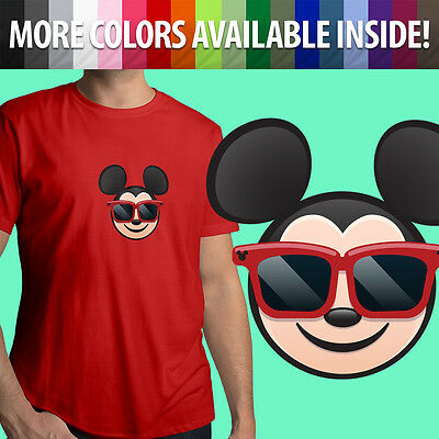 Mickey Emoji (Sunglasses Mickey Mouse Emoji Disney Cool Hip Unisex Mens Tee Crew Neck T-Shirt)