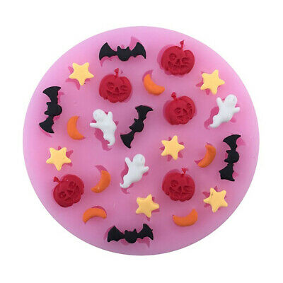 DIY Halloween Pumpkin Ghost Bat Silicone Mold Fondant Cake Biscuit Mould DEN - Halloween Biscuits