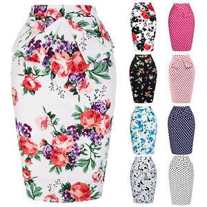 Nuevo-Mujer-Vintage-Retro-Floral-cintura-alta-vestido-fiesta-Tubo-Midi-Skater
