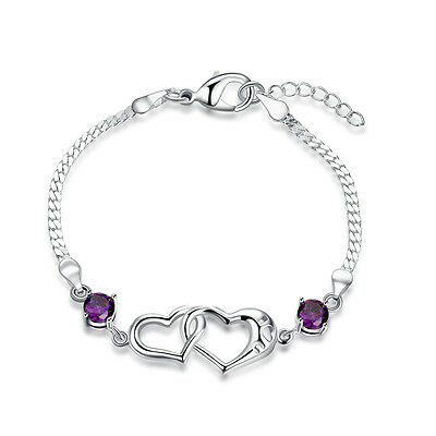 Women 925 Sterling Silver Filled Love Heart Crystal Charm Bracelet Chain Gift