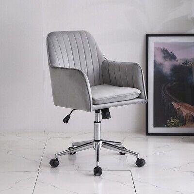 Velvet Office Chair Line Stripes Upholstered Swivel Computer Desk Chairs Gray