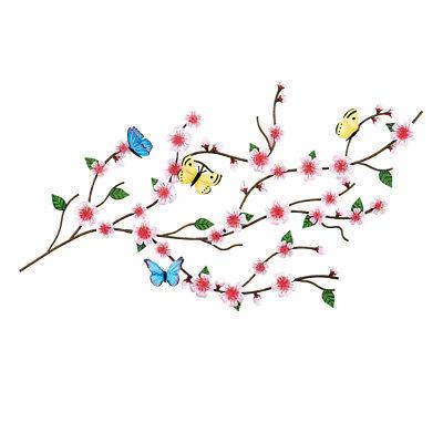 Cherry Blossom & Butterflies Asian Home 3D Sculpted Metal Wall Art Décor ()
