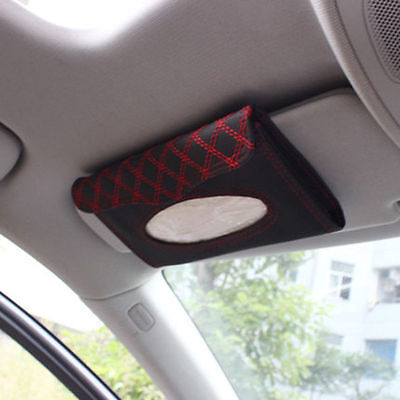 Car Auto Accessory Sun Visor Tissue Paper Holder Clip Black/