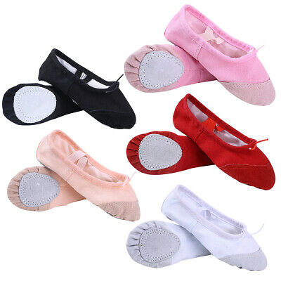 Children Adult Canvas Split Sole Ballet Dance Shoes Pointe Slippers Size 22-44 Ballet