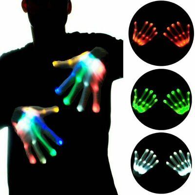 LED-Blitz Finger Light Up Handschuhe bunte Beleuchtung Für Rave Halloween NEU