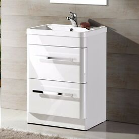 Modern Bathroom Vanity Unit Basin Sink Unit 2 Drawer Storage Cabinet Furniture